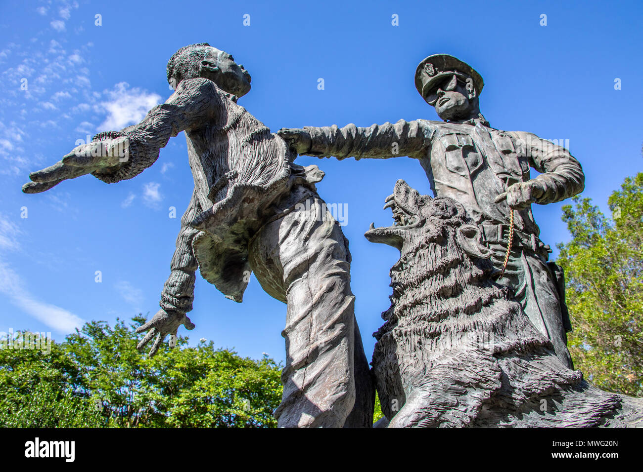 The Foot Soldier, statue sculpted by Ronald S McDowell, Kelly Ingram Park, Birmingham, Alabama, USA - Stock Image