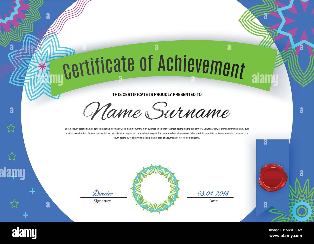 Official white certificate with bright blue bprder green pink ...