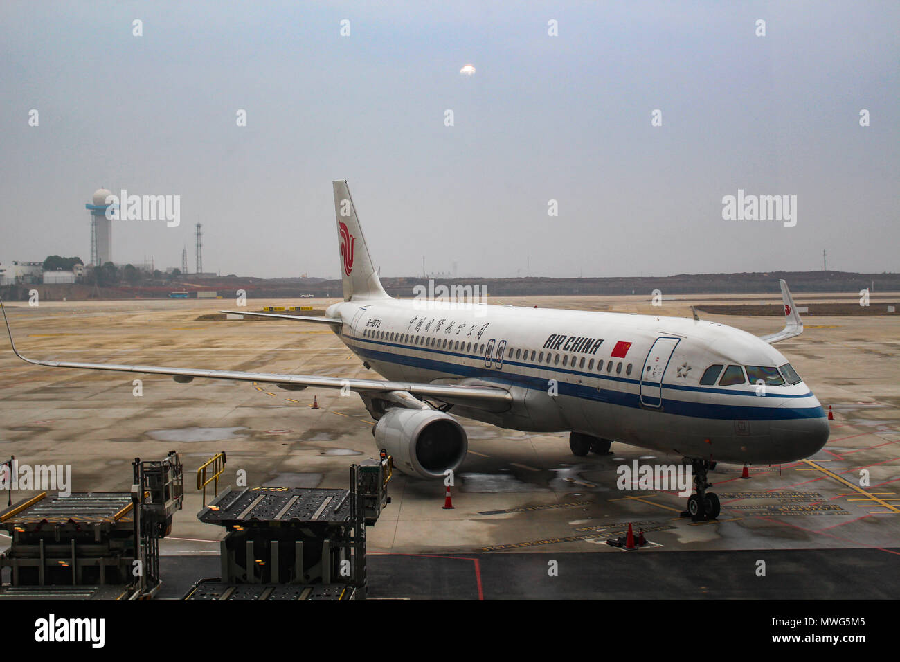 Wuhan, China - March 14, 2018: Air China Airbus A320 Neo aircraft parked at Wuhan airport Stock Photo
