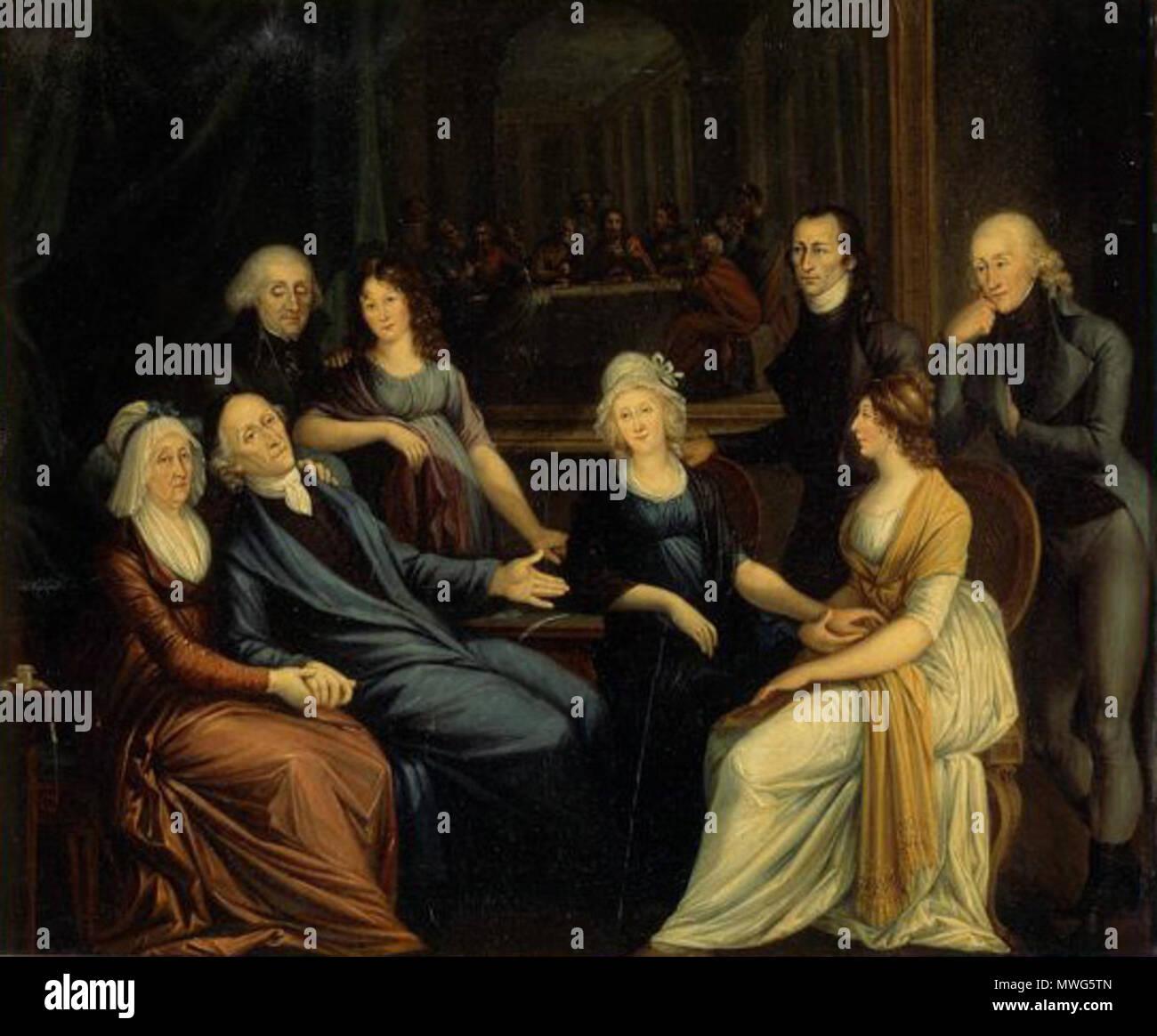 . Lavaters Tod, die Familie ist am Berchtoldstag 1801 um den sterbenden Lavater versammelt . c. 1801-1825  361 Lavaters Tod - Stock Image