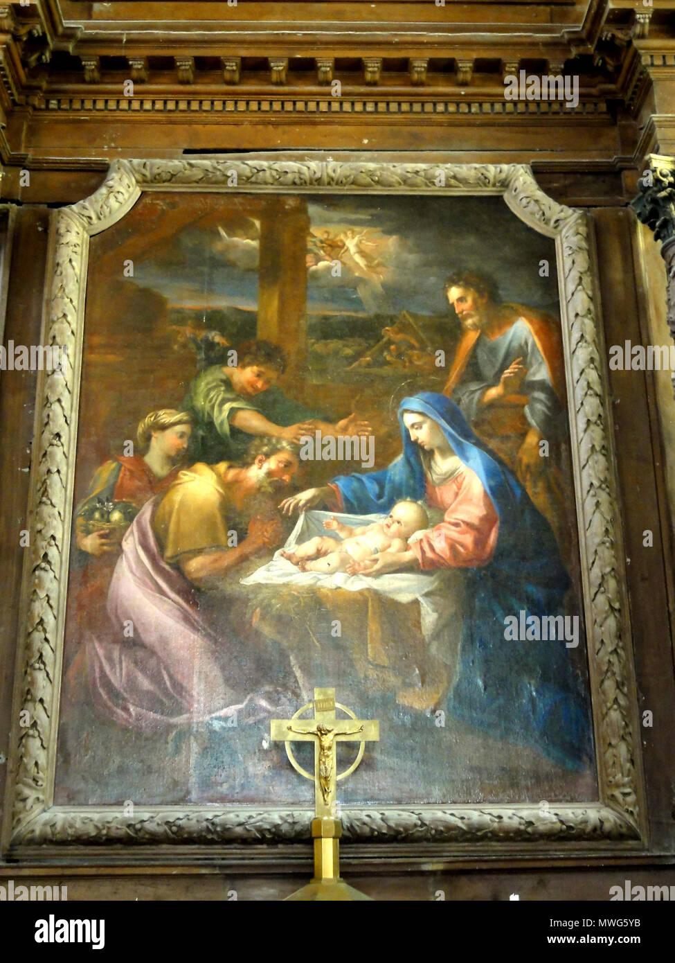361 Le Bellay-en-Vexin (95), église Sainte-Marie-Madeleine, maître-autel, tableau de retable - Adoration des bergers Stock Photo