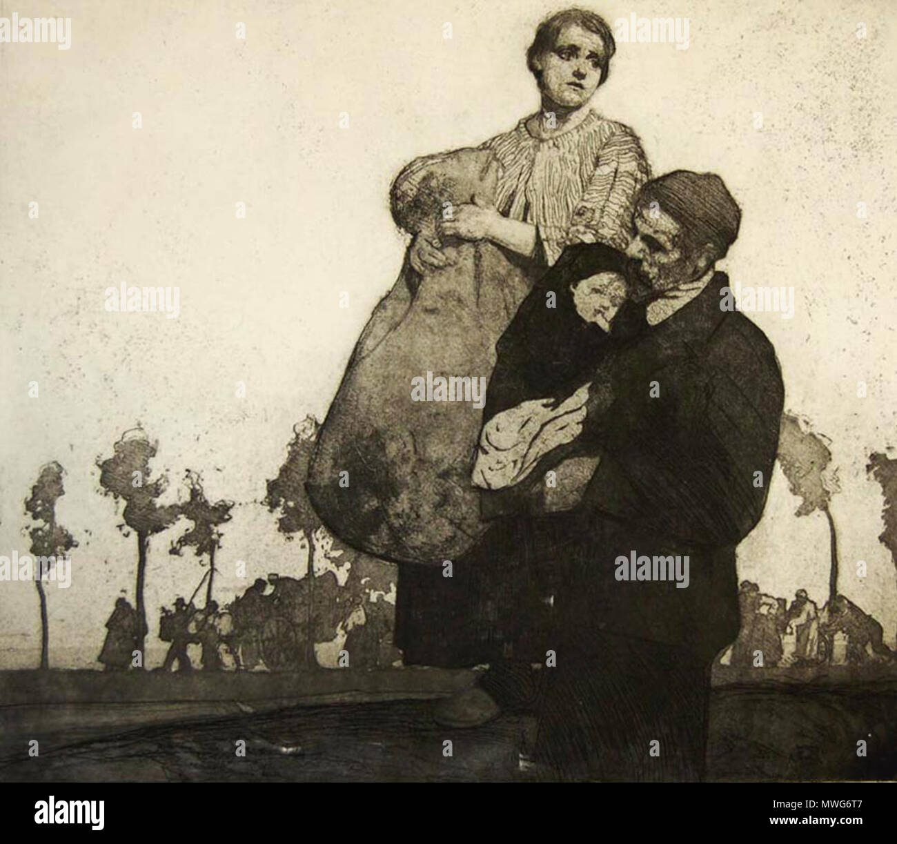 . English: 'The Refugees', an etching based on William Lee Hankey's observations just behind the front line at Étaples in 1914 . 19 February 2012. William Lee Hankey 365 Leehankey refugees - Stock Image