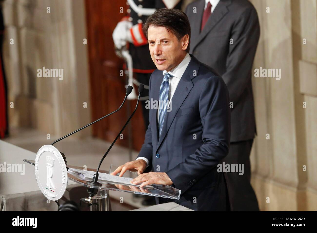 Italy, Rome, May 23, 2018 : Italy's designated Premier Giuseppe Conte talks to journalists after having received from Italy's President Sergio Mattare - Stock Image