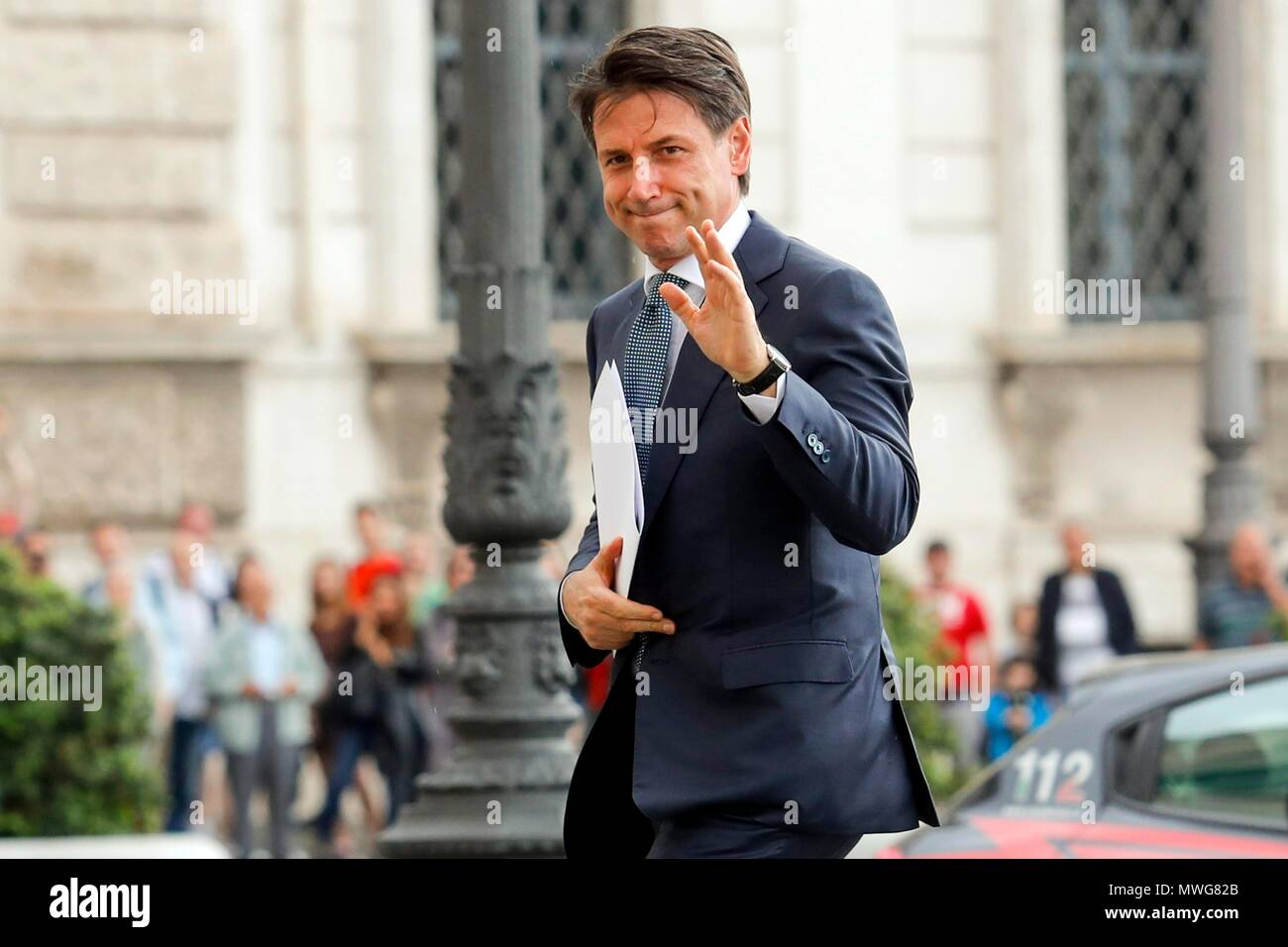 Italy, Rome, May 23, 2018 : Italy's designated Premier Giuseppe Conte received from Italy's President Sergio Mattarella the mandate to form a new gove - Stock Image