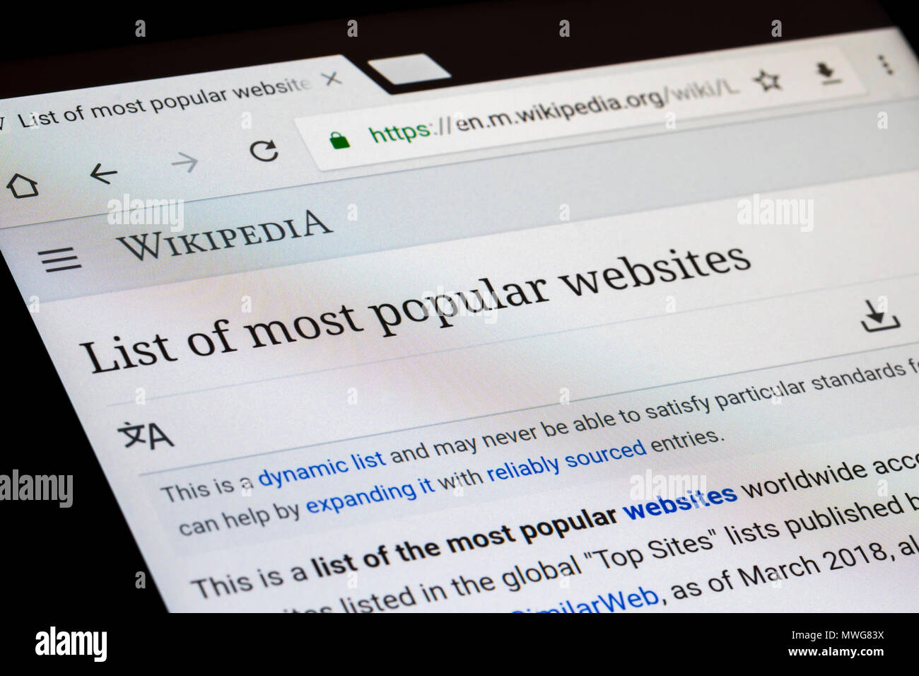 Wikipedia Internet website on a tablet. - Stock Image