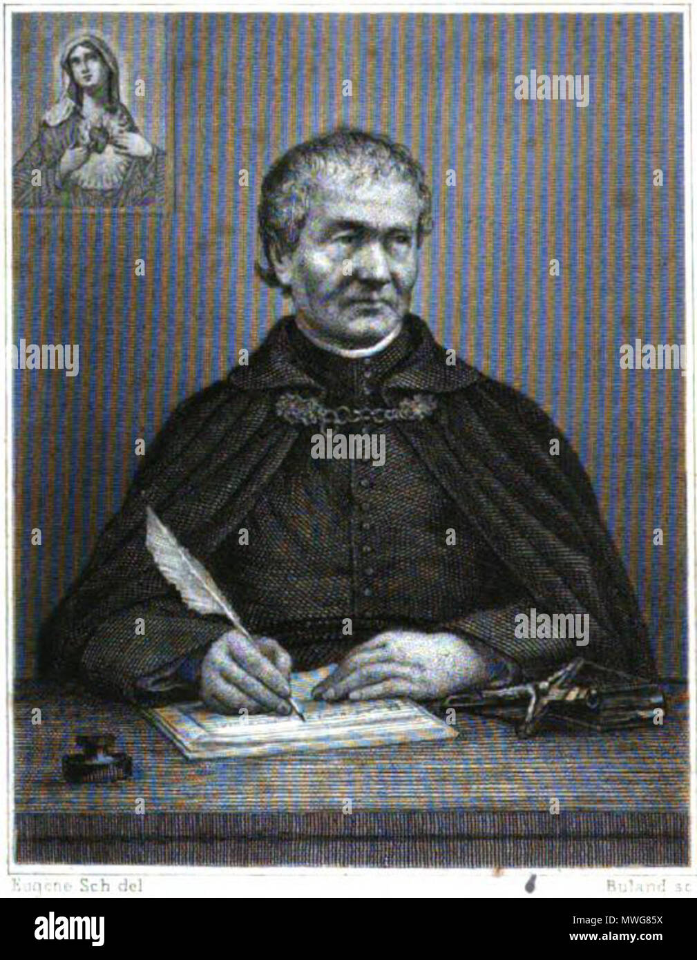 . English: A lithograph of the Venerable Francis Libermann, with an image of the Immaculate Heart of Mary in the upper canton. 1880. The work is signed 'Eugene Sch del' 370 Libermann portrait 1880 - Stock Image