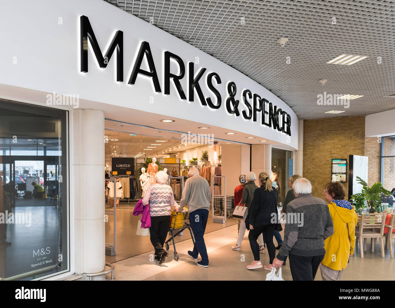 Marks and Spencer shop front. M&S store front in Holmbush Shopping Centre, Shoreham, West Sussex, England, UK. Shopping mall. - Stock Image