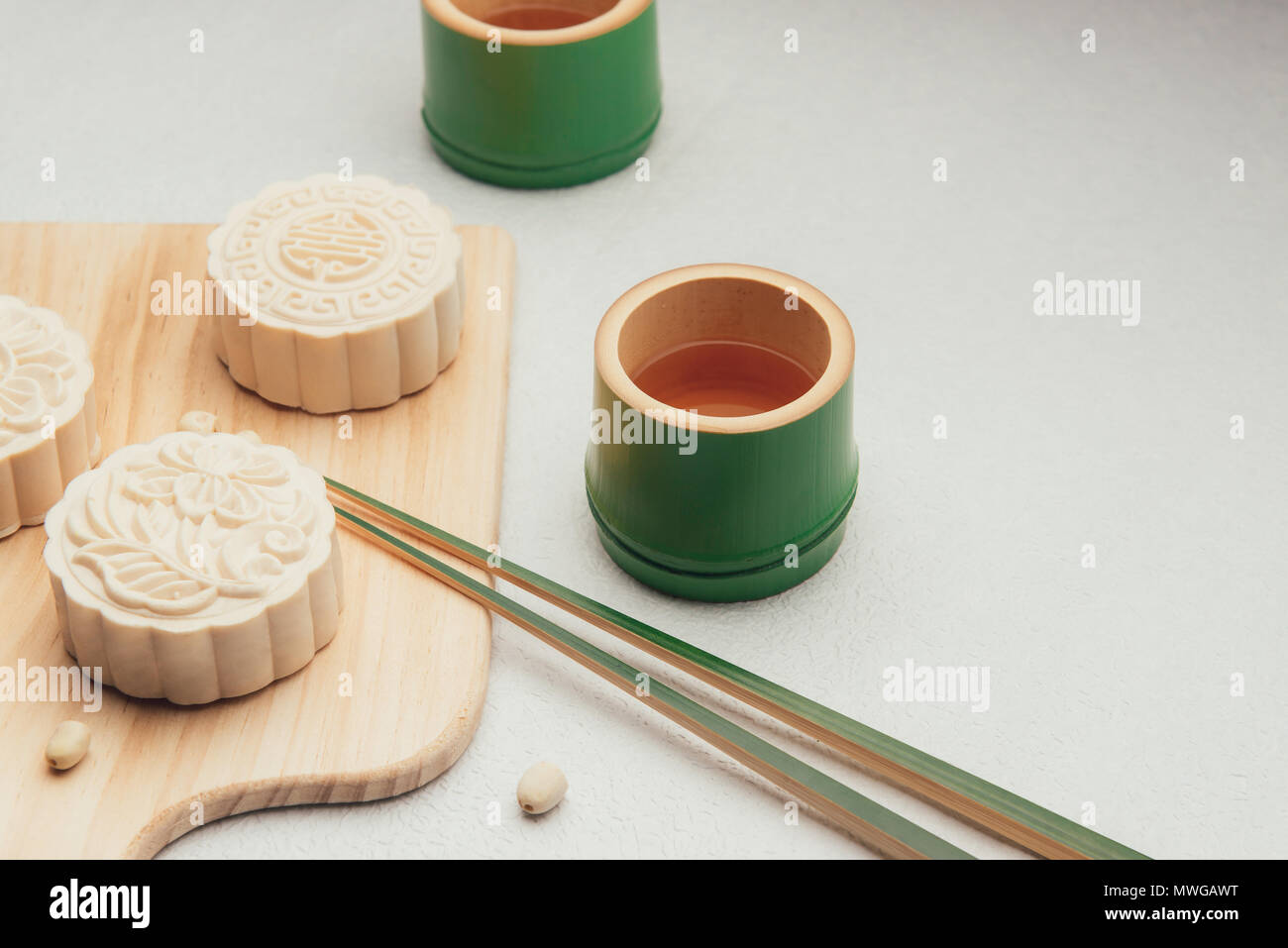 Retro vintage style Chinese mid autumn festival foods