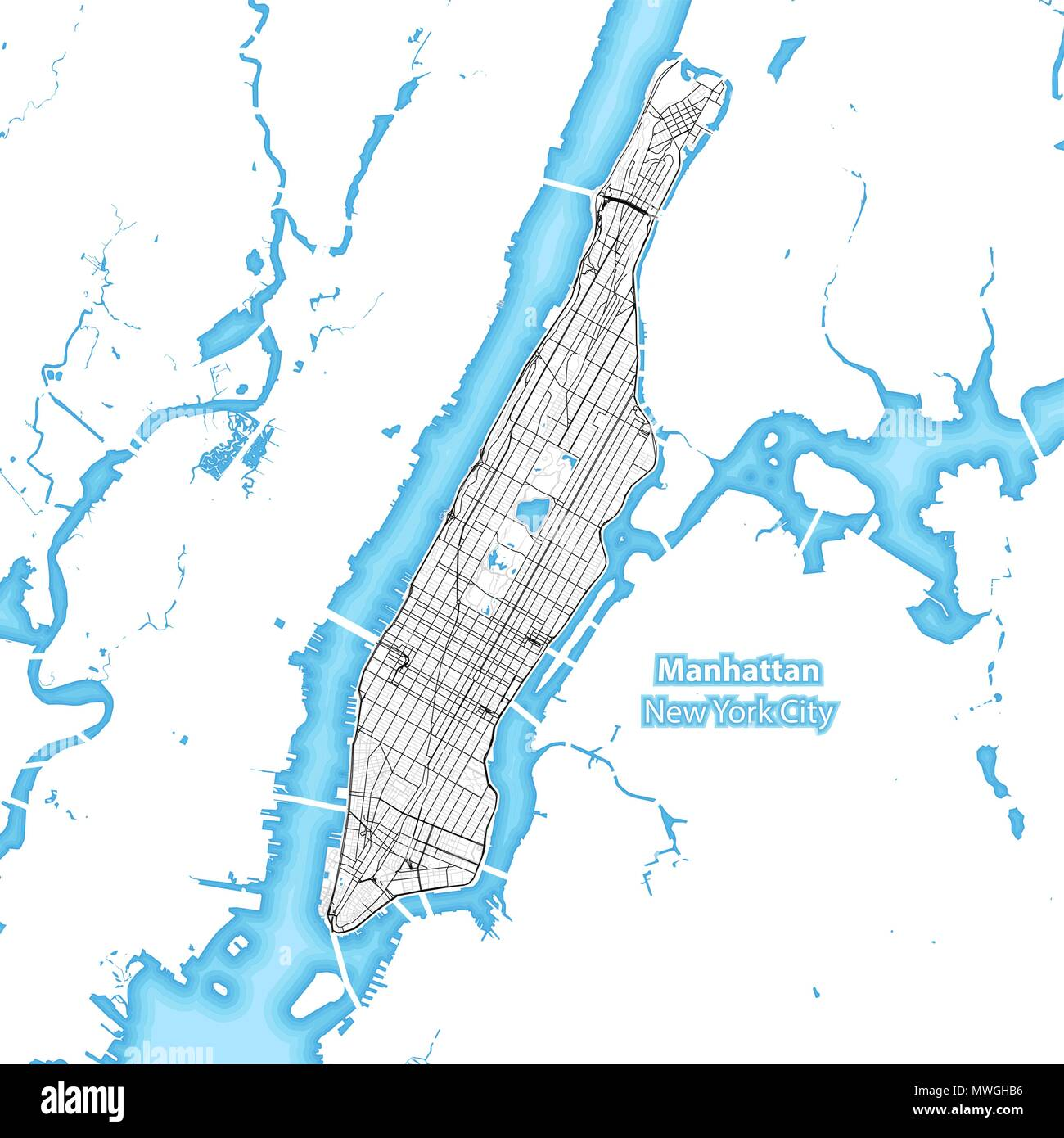 Map Of The Island Of Manhattan New York City Indonesia With The - Manhattan island map