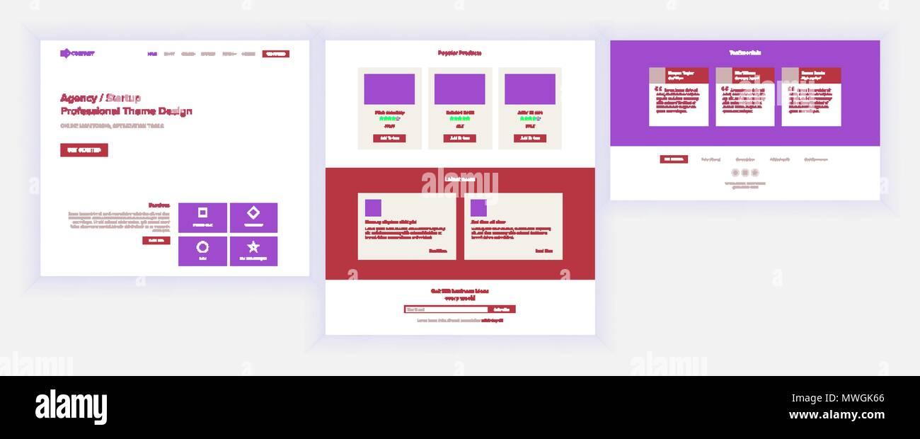 Main Web Page Design Vector. Website Business Screen. Landing Template. Innovation Idea. Engineer Device. Mining Money. Progress Report. Illustration - Stock Image