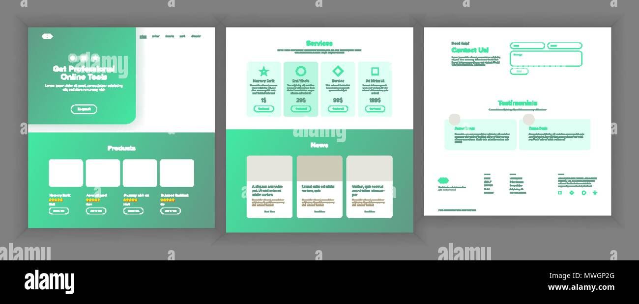 Web Page Design Vector. Website Business Graphic. Responsive Interface. Landing Template. Futuristic Strategy. Future Gadget. Global Investment. Illustration - Stock Image