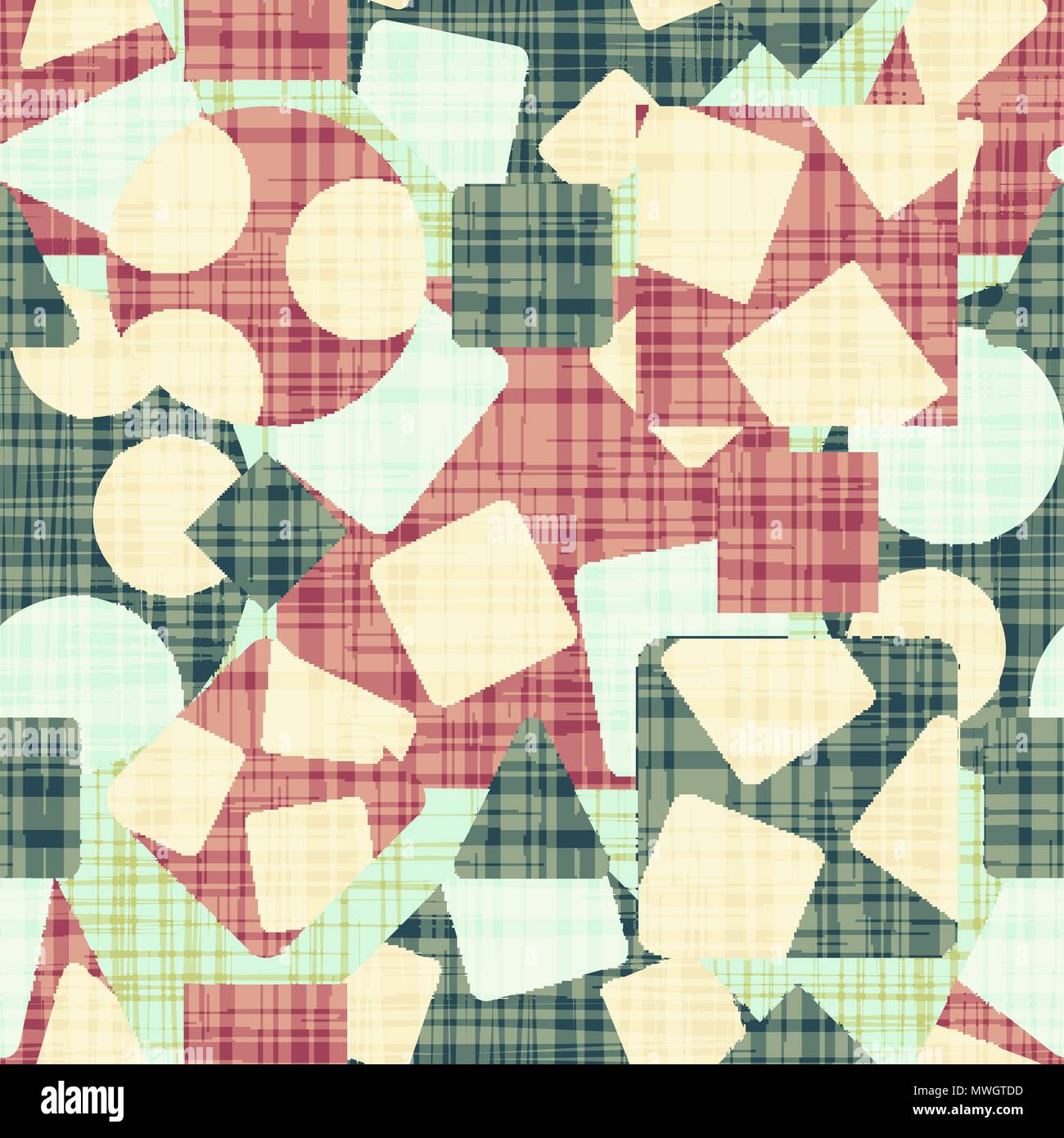 Retro design cloth with geometric shapes - Stock Image