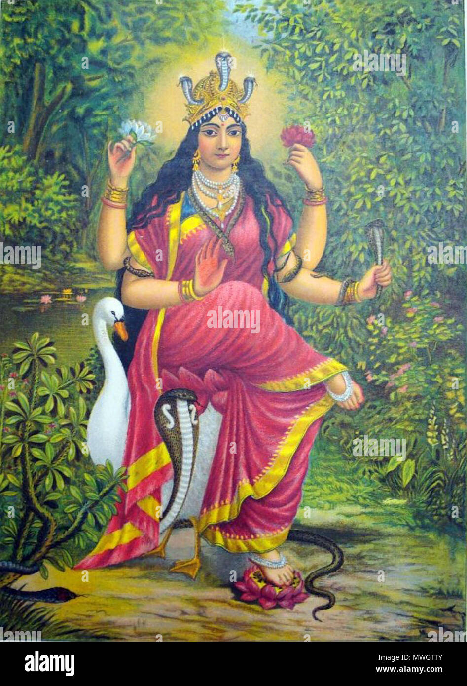 . English: 'Album of popular prints mounted on cloth pages. Colour lithograph, lettered, inscribed and numbered 33. The goddess Manasā in a dense jungle landscape with snakes, seated on a swan and with her left foot resting on a lotus flower.' . 1895. Unknown 390 Manasa Devi - Stock Image