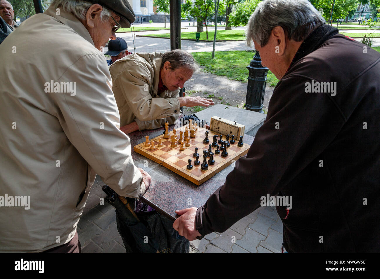 Local Men Playing Chess In A Park, Odessa, Ukraine - Stock Image