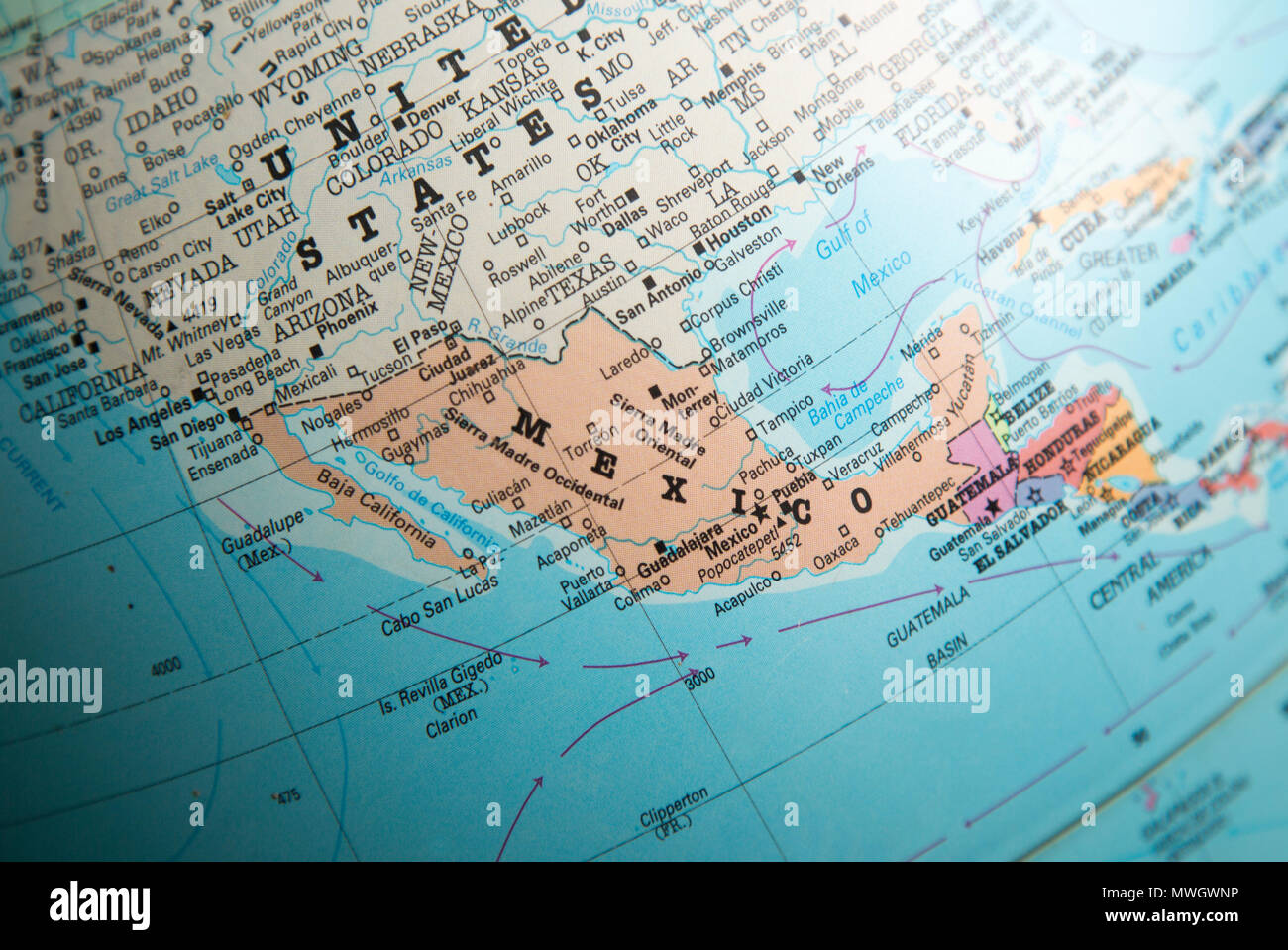 Mexico map political map stock photos mexico map political map north america map on a globe focused on mexico border with united states of america freerunsca Image collections