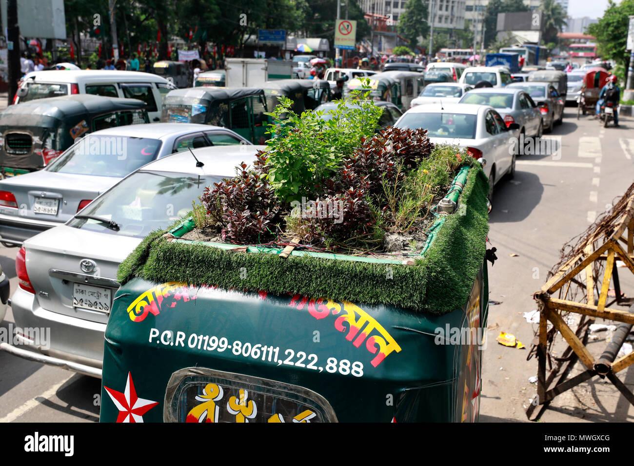 Dhaka, Bangladesh - May 12, 2018: A green environmental friendly