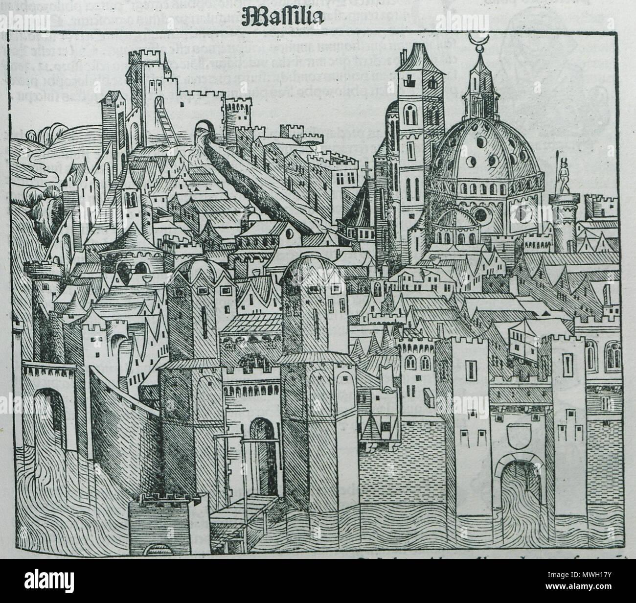 . English: Hartmann Schedell. Liber Cronicarum, Nürnberg, Anton Koberg/Schreyer & Sebastian Kammermeister, 1493. 1493. Hartmann Schedel 405 Massilia - Schedell Hartmann - 1493 - Stock Image