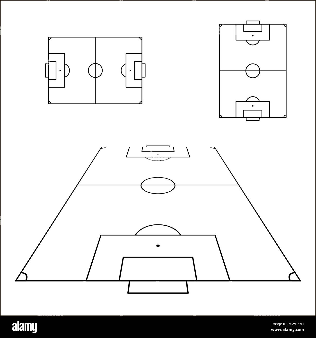 sketch of soccer fields set football field design element soccer