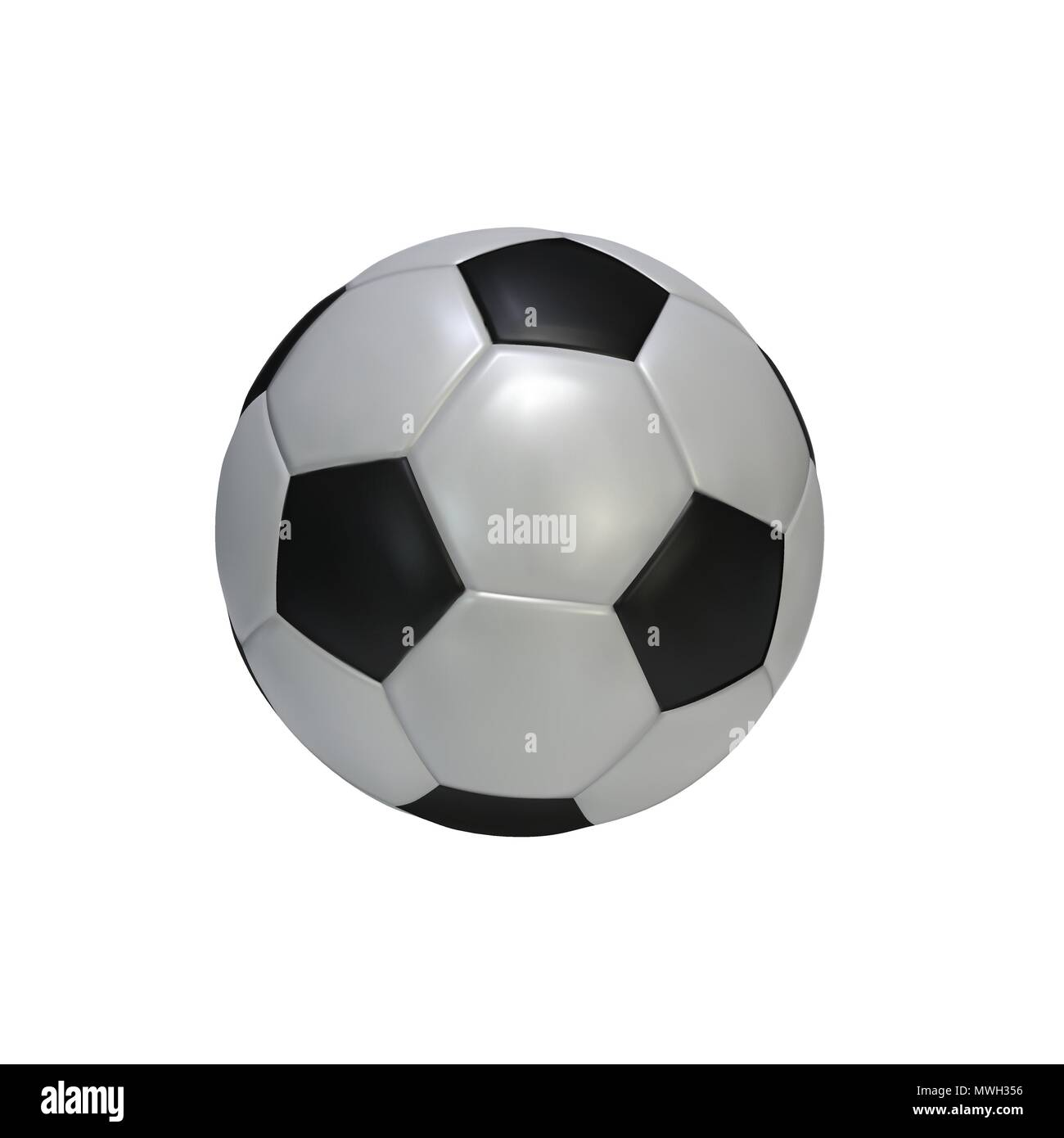 Realistic soccer ball isolated on white background. Black and white classic leather football ball.  Vector illustration - Stock Image