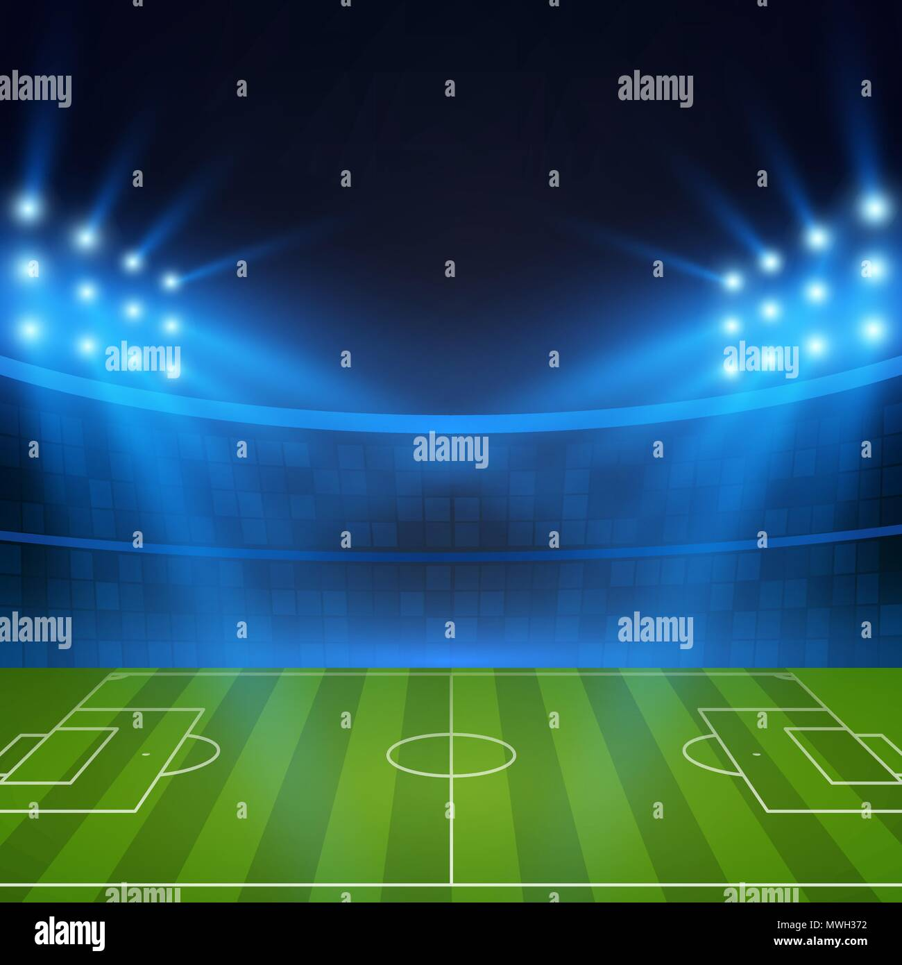 Football Stadium. Soccer field in the light of searchlights. Football World Cup. Vector illustration - Stock Vector