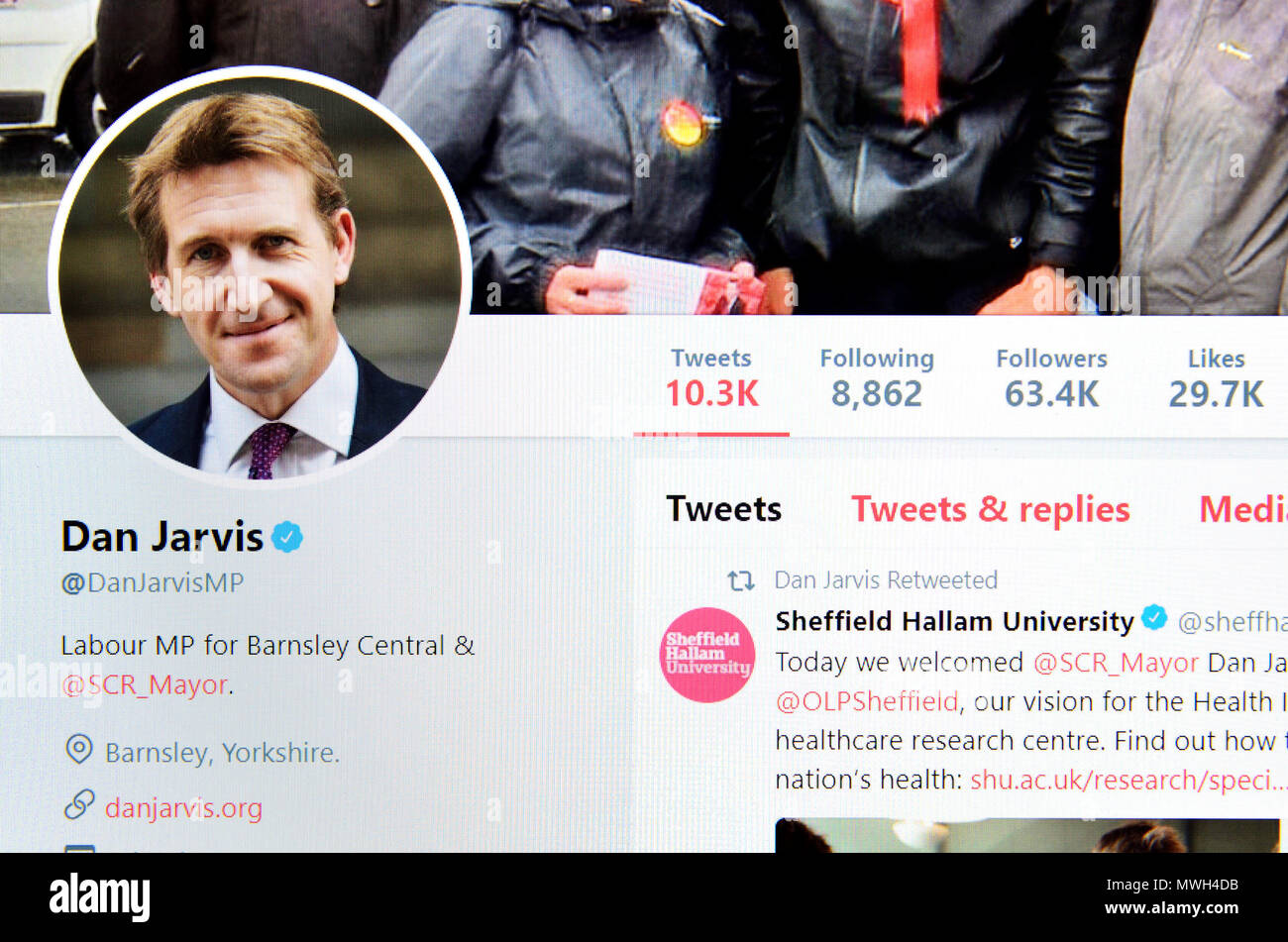 Dan Jarvis MP (Mayor of Sheffield) Twitter page (2018) - Stock Image