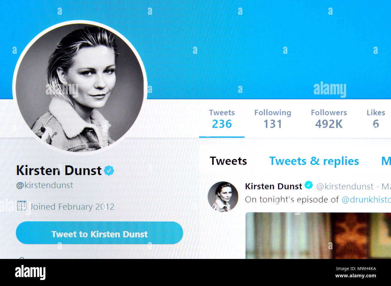 Kirsten Dunst Twitter page (2018) - Stock Image