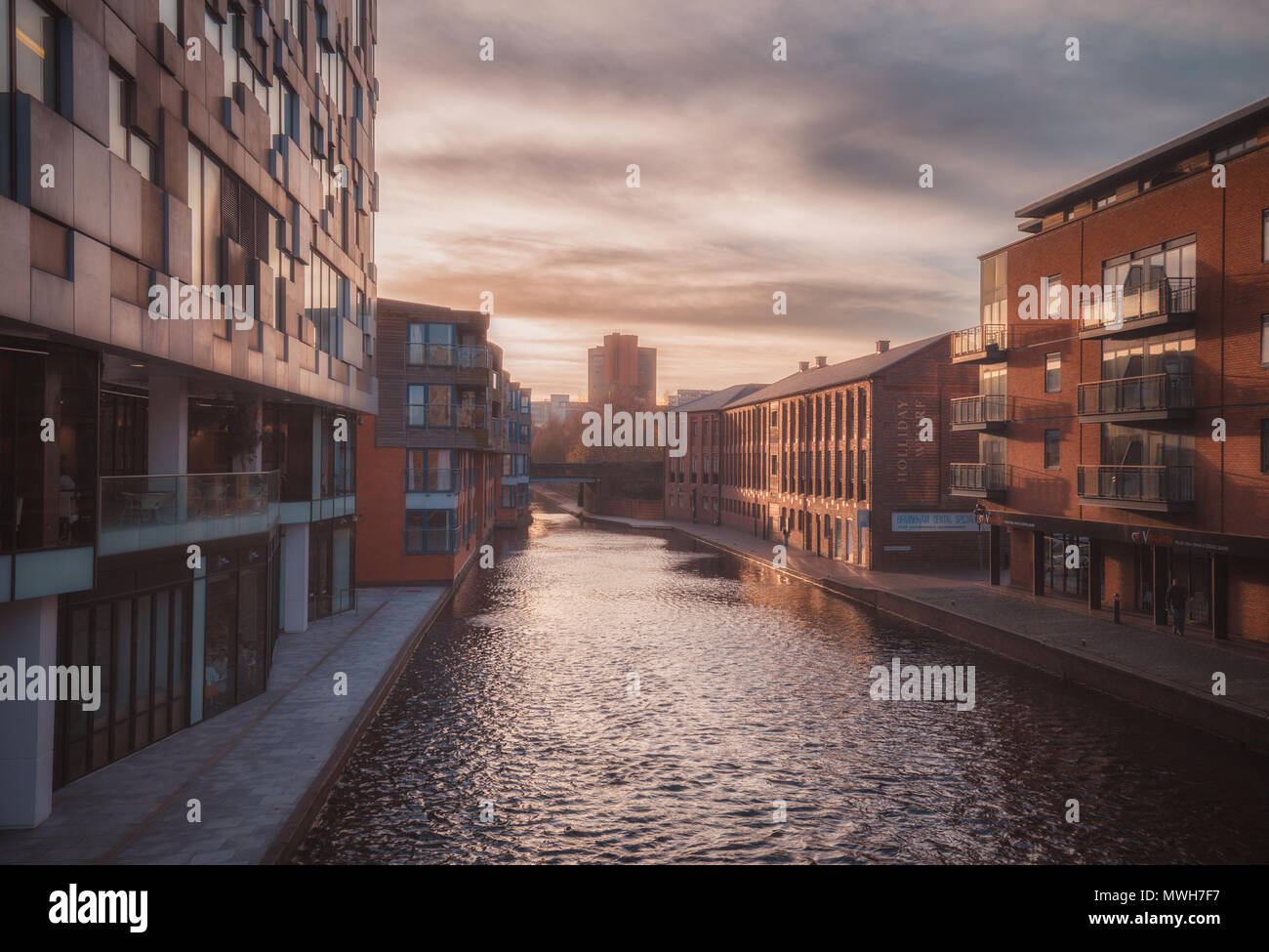 Sunset in Gas Street Basin - Stock Image