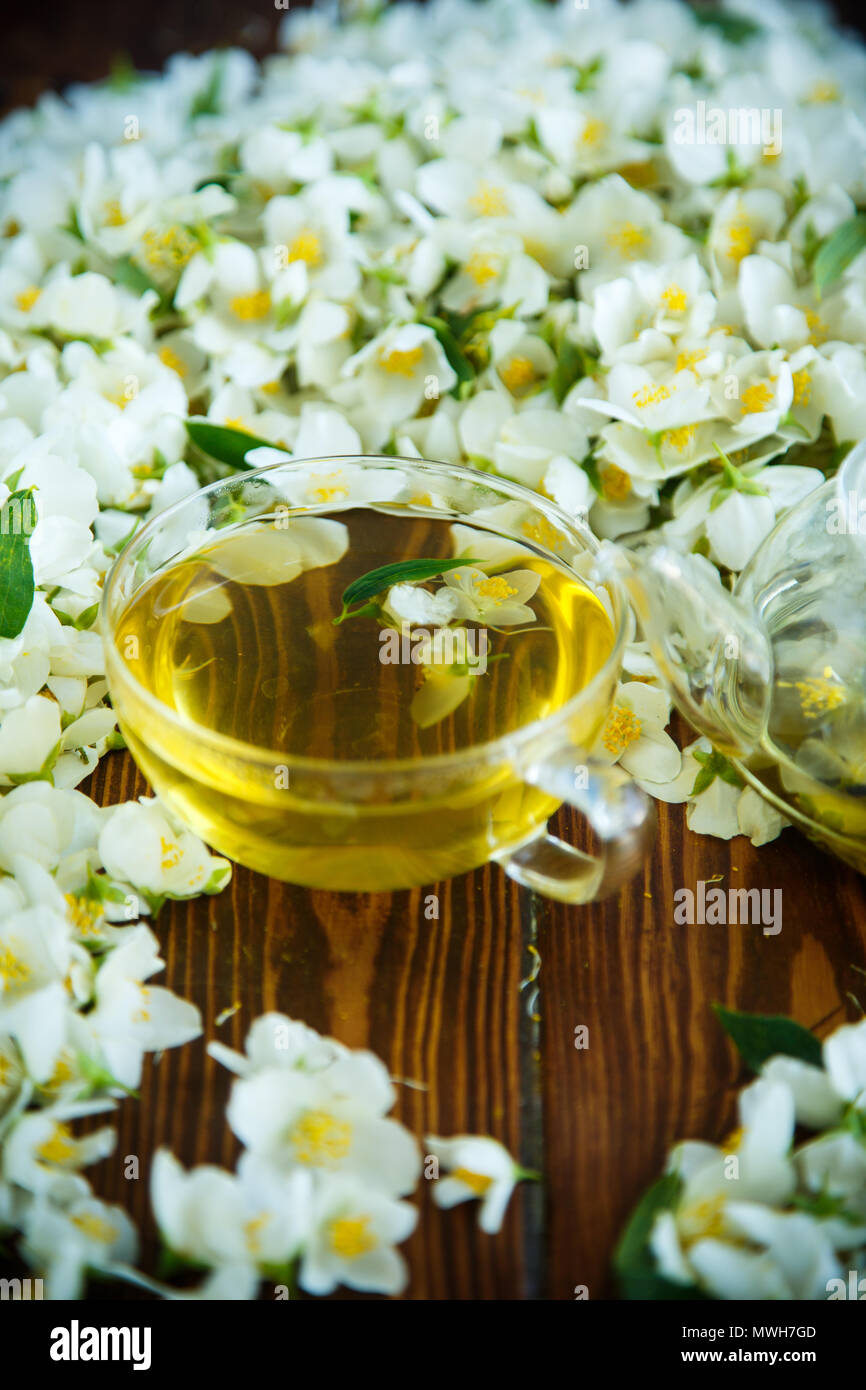 Tea With Jasmine Flowers In A Glass Teapot Stock Photo 187849213