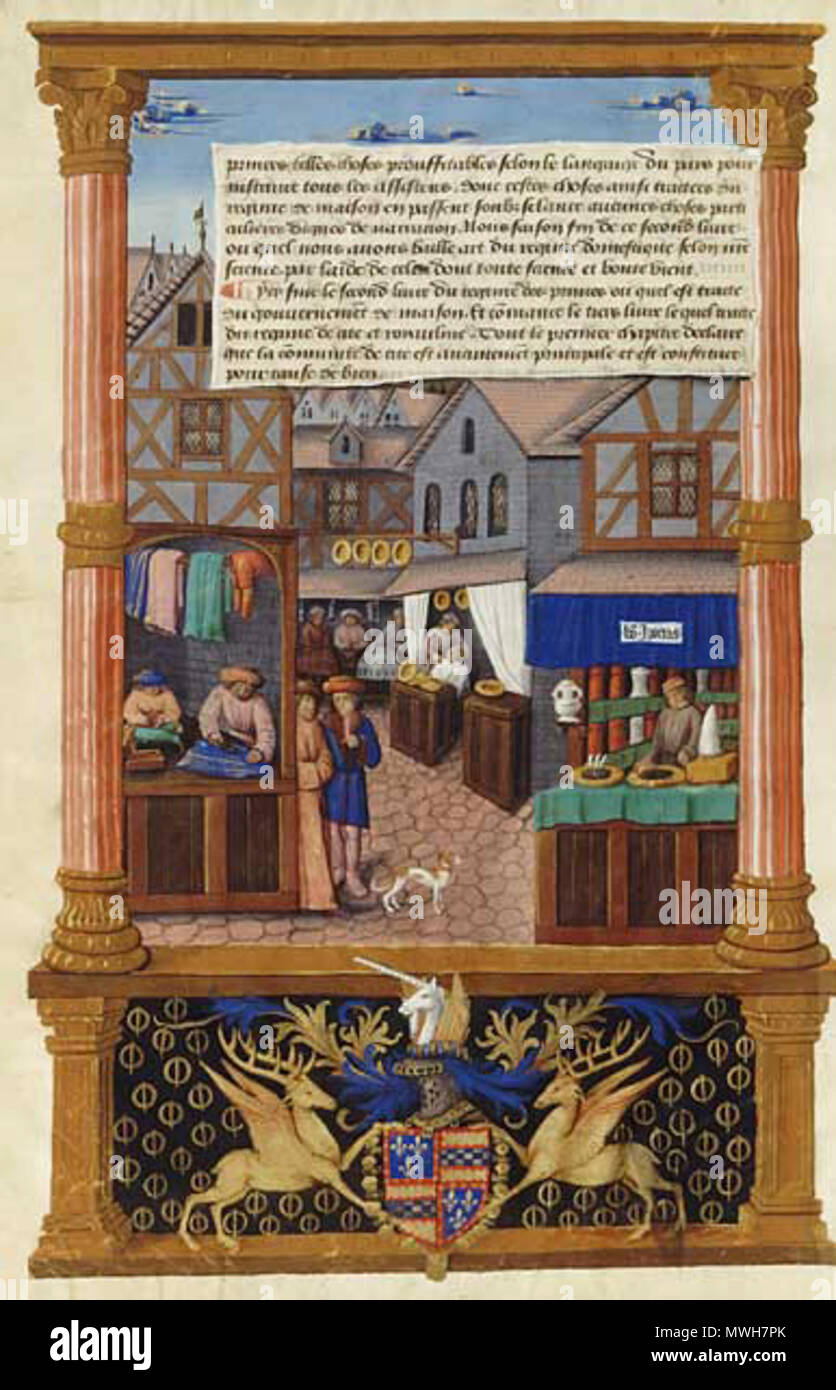 . English: A Medieval Market Street (from the Gouvernement des Princes). 27 January 2013, 23:06:03. old 410 Medieval market ms - Stock Image
