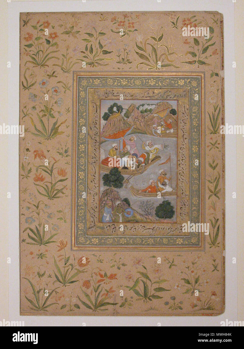 . Men Fishing from Boats Object Name:  Album leaf Reign:  Jahangir (1605–27) Date:  17th century Geography:  India Dimensions:  14 3/8 x 9 3/4in. (36.5 x 24.8cm) Classification:  Codices Credit Line:  Gift of Alexander Smith Cochran, 1913 Accession Number:  13.228.54 . 17th century. Unknown 411 Men Fishing from Boats - Stock Image