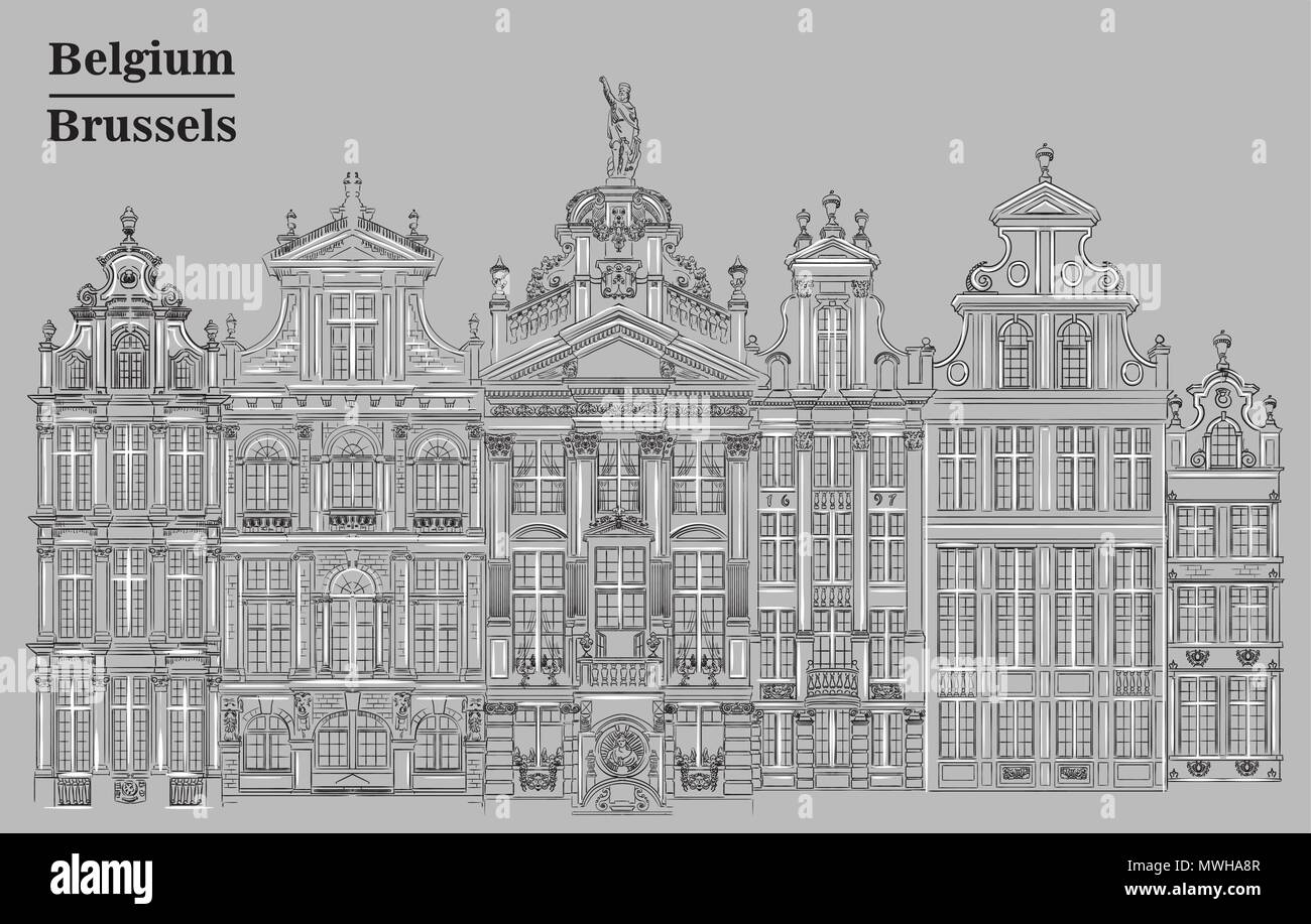 Grand Place in Brussels, Belgium. Landmark of Belgium. Vector hand drawing illustration in black and white colors isolated on grey background. - Stock Vector