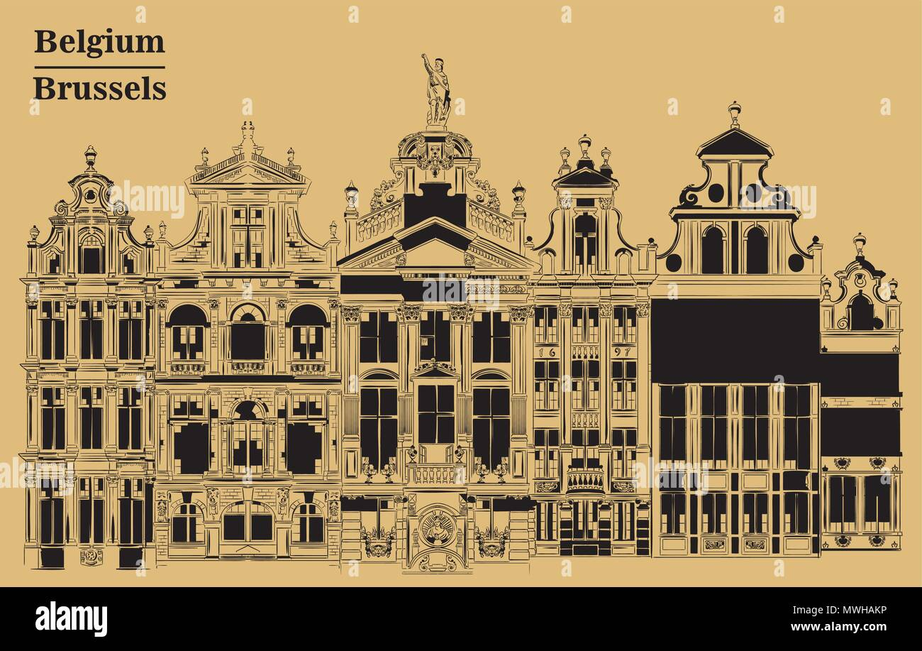 Grand Place in Brussels, Belgium. Landmark of Belgium. Vector hand drawing illustration in black color isolated on brown background. - Stock Vector