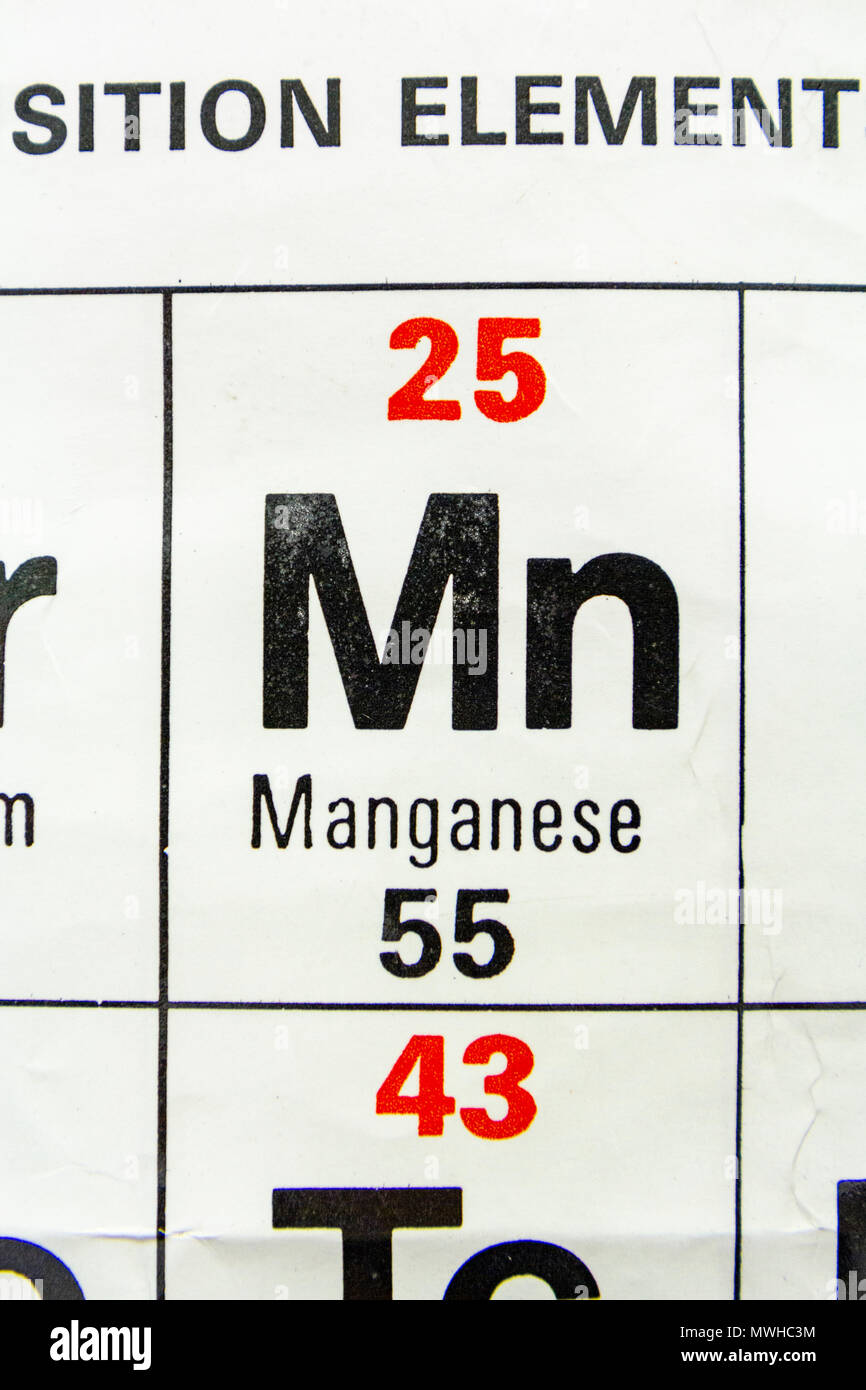 The element Manganese (Mn) as seen on a periodic table chart as used in a UK school. - Stock Image
