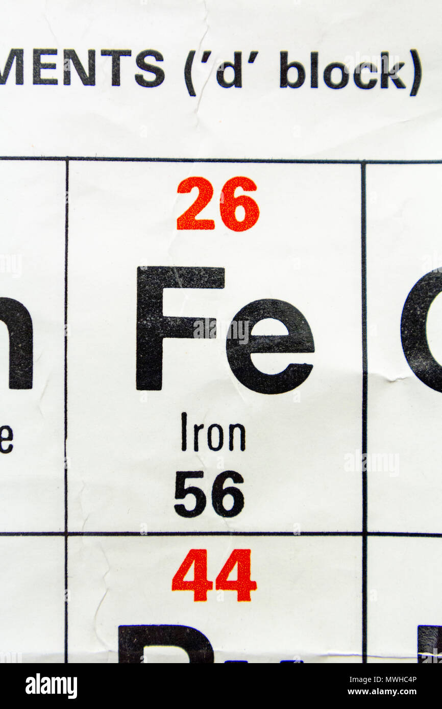 The element Iron (Fe) as seen on a periodic table chart as used in a UK school. - Stock Image