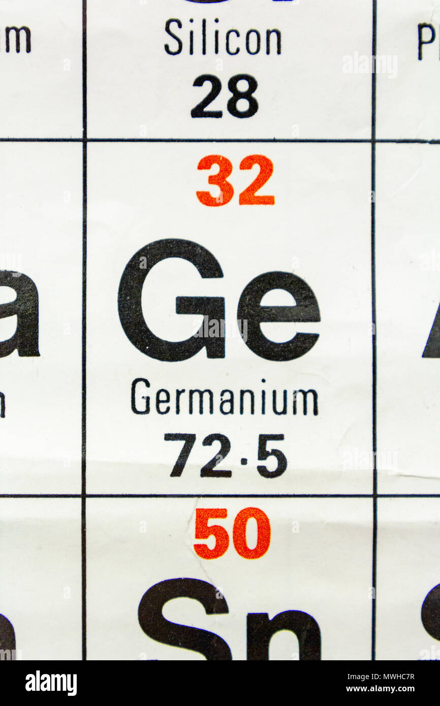 The Element Germanium Ge As Seen On A Periodic Table Chart As Used