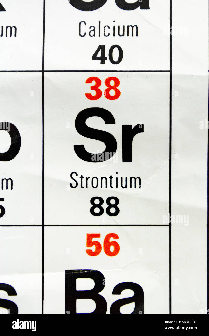The Element Strontium Sr As Seen On A Periodic Table Chart As Used