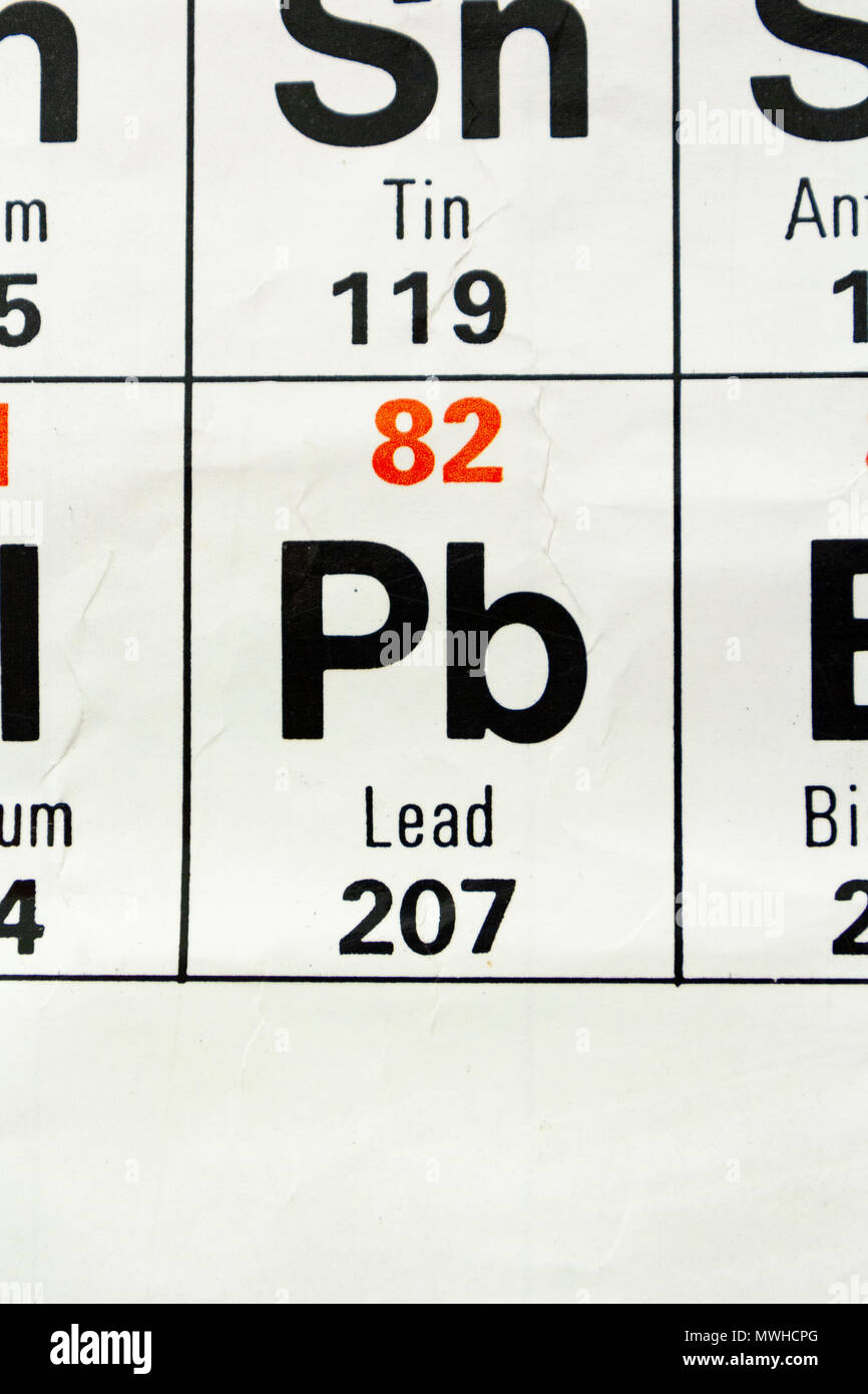 The Element Lead Pb As Seen On A Periodic Table Chart As Used In A