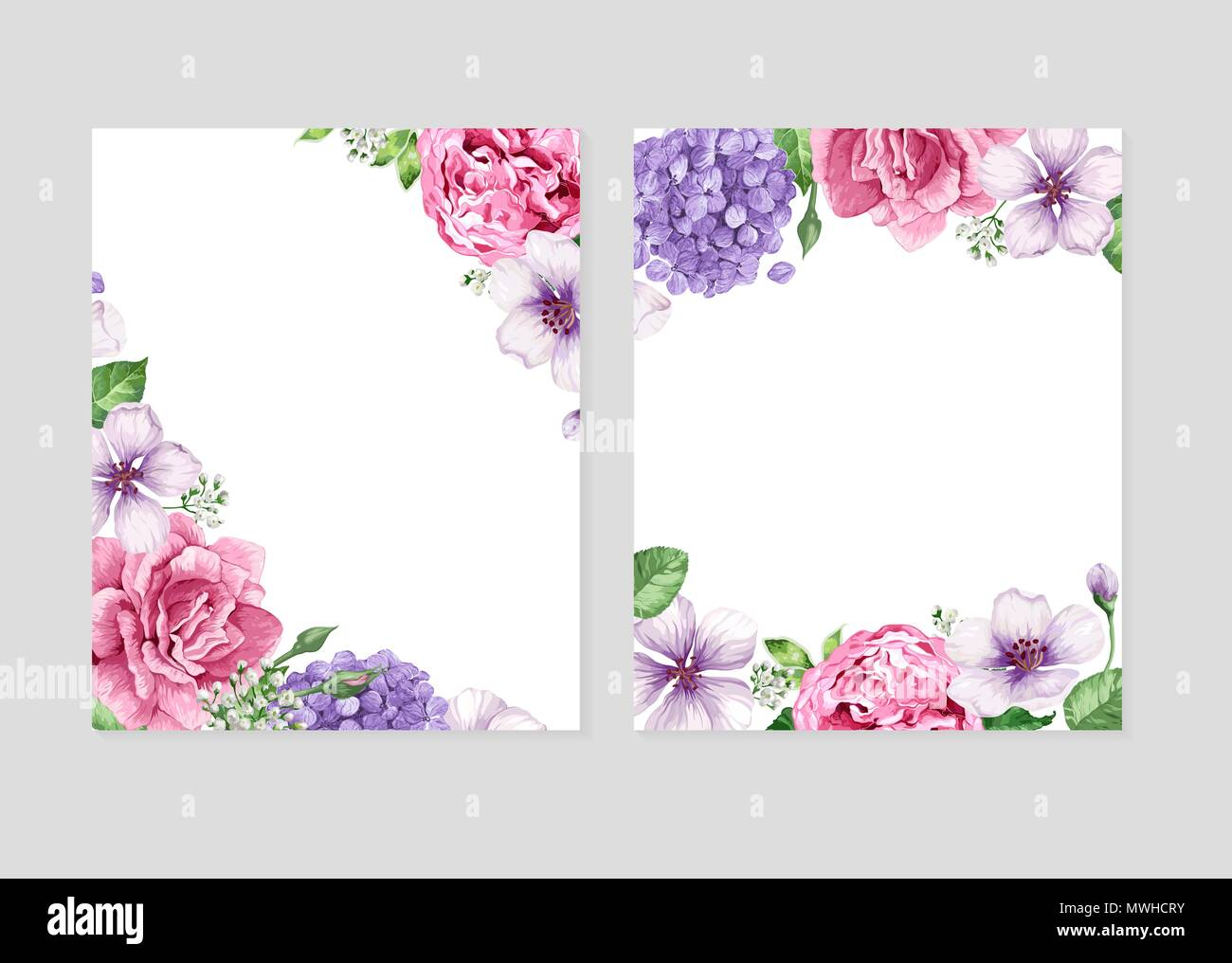 floral blank template set flowers in watercolor style isolated on