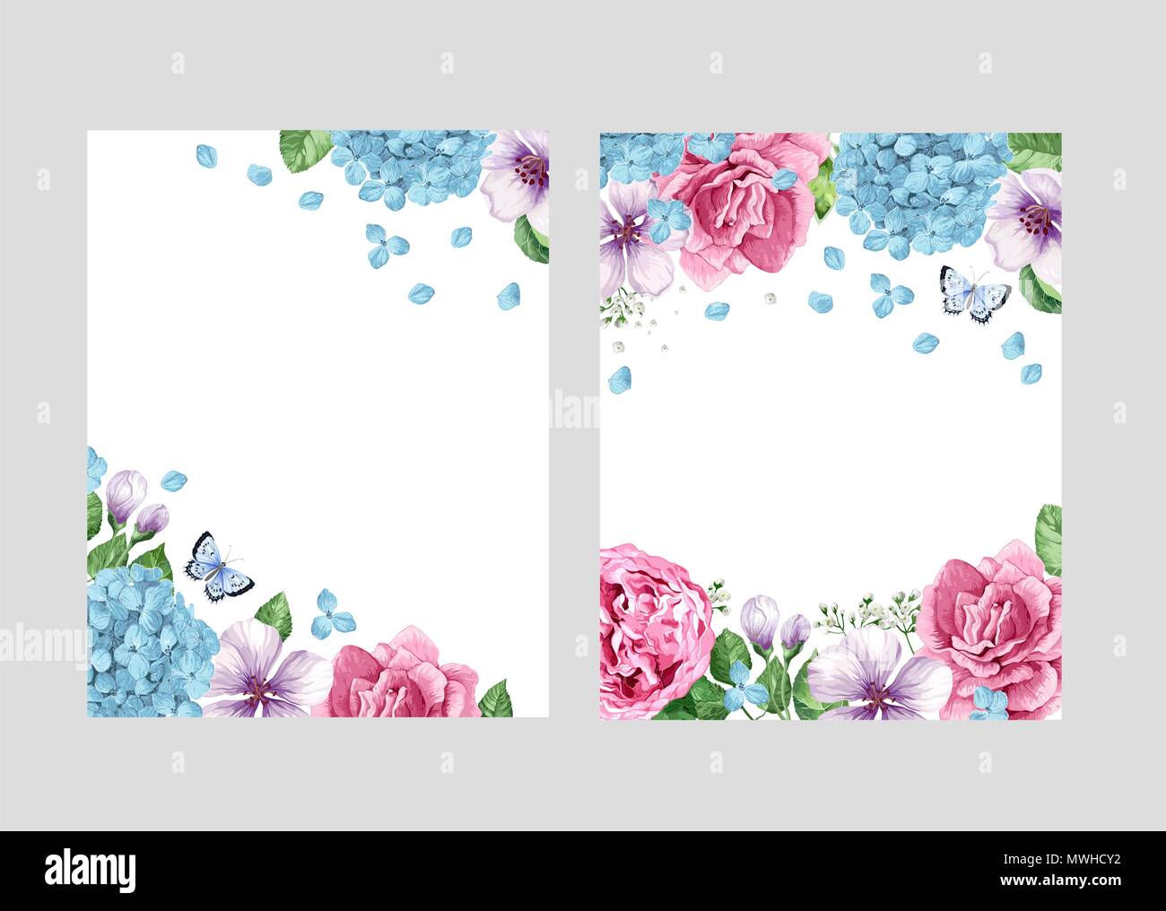 Floral Blank Template Set Flowers In Watercolor Style
