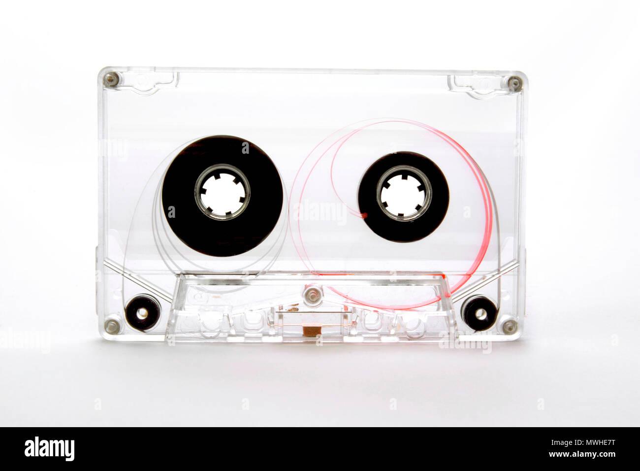 Transparent audio cassette - Stock Image