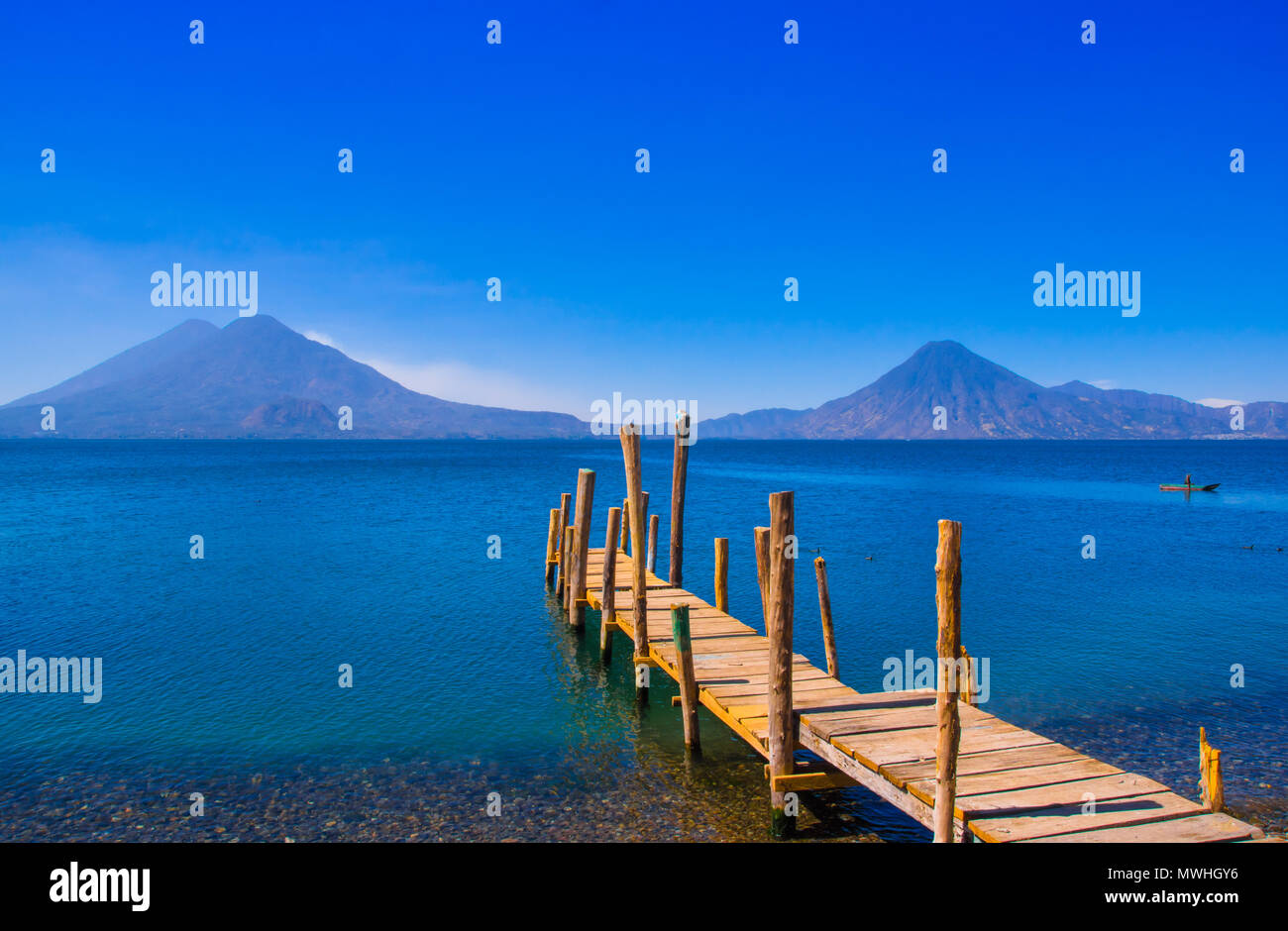 Landscape of the Atitlan Lake with a pier used by fishermen close to Panajachel - Stock Image