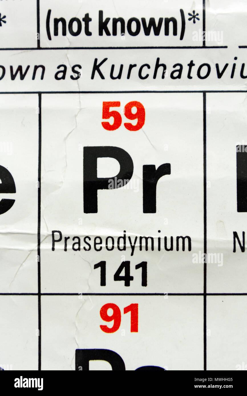 Praseodymium Pr As It Appears A Uk Secondary School Periodic Table