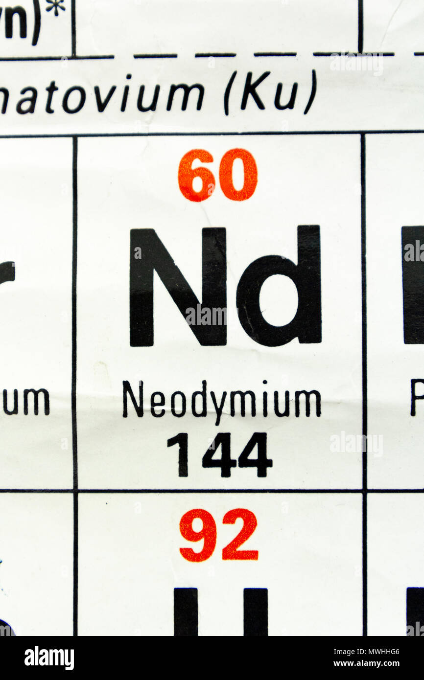 Neodymium (Nd) as it appears a UK Secondary school Periodic Table. - Stock Image