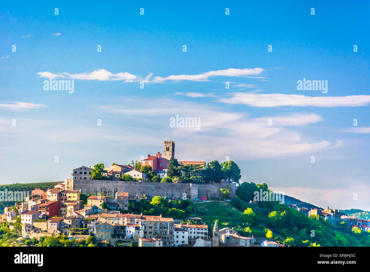 Scenic view at medieval town Motovun on marble hill, Istria Croatia. Stock Photo