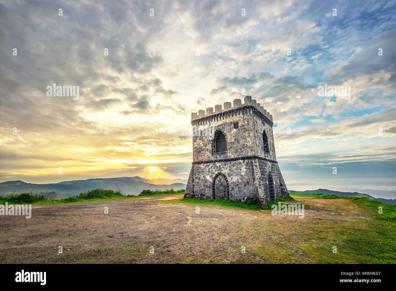 Castelo Branco Viewpoint on sunrise, Sao Miguel island, Azores, Portugal - Stock Image