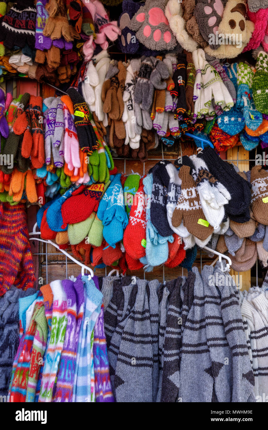 Dalcahue, Chiloé, Chile, 2018: Hand woven woolens for sale in the artisan market. - Stock Image