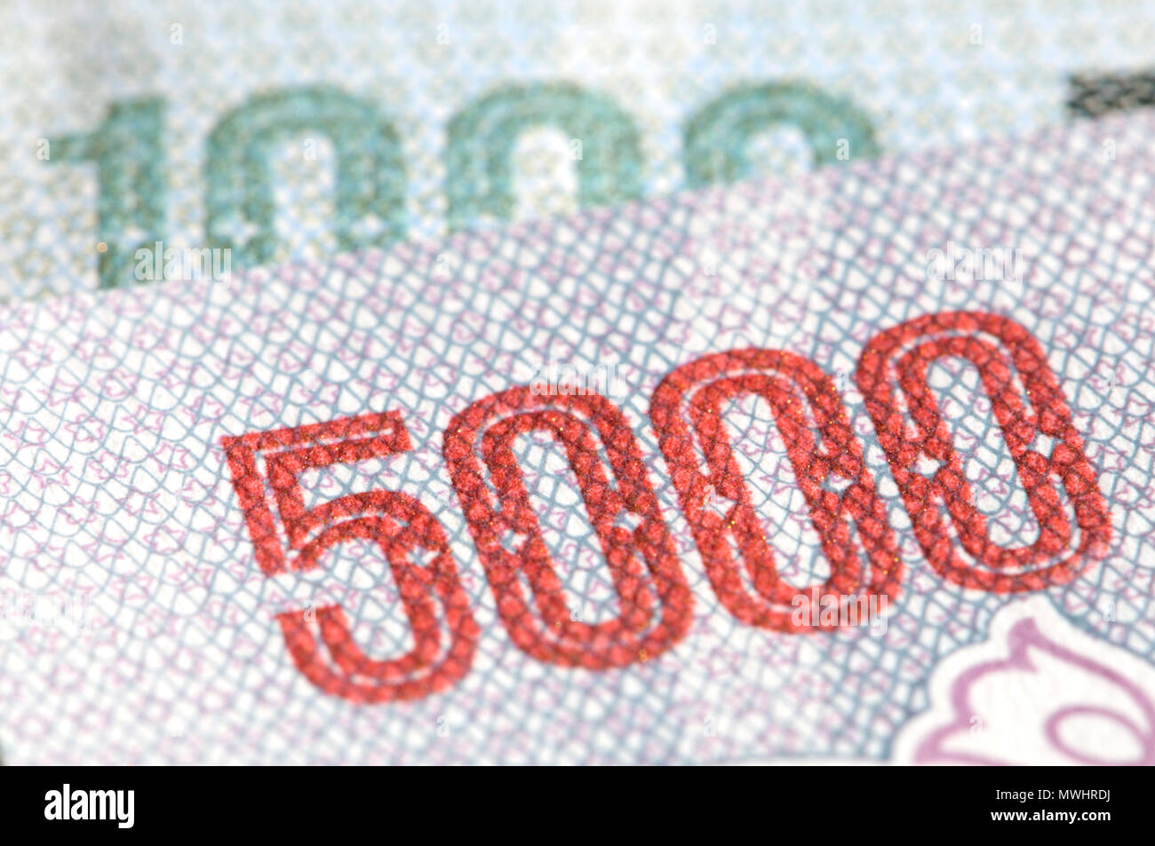 Detail from North Korean banknotes showing 1000 and 5000 in raised ink printing - Stock Image
