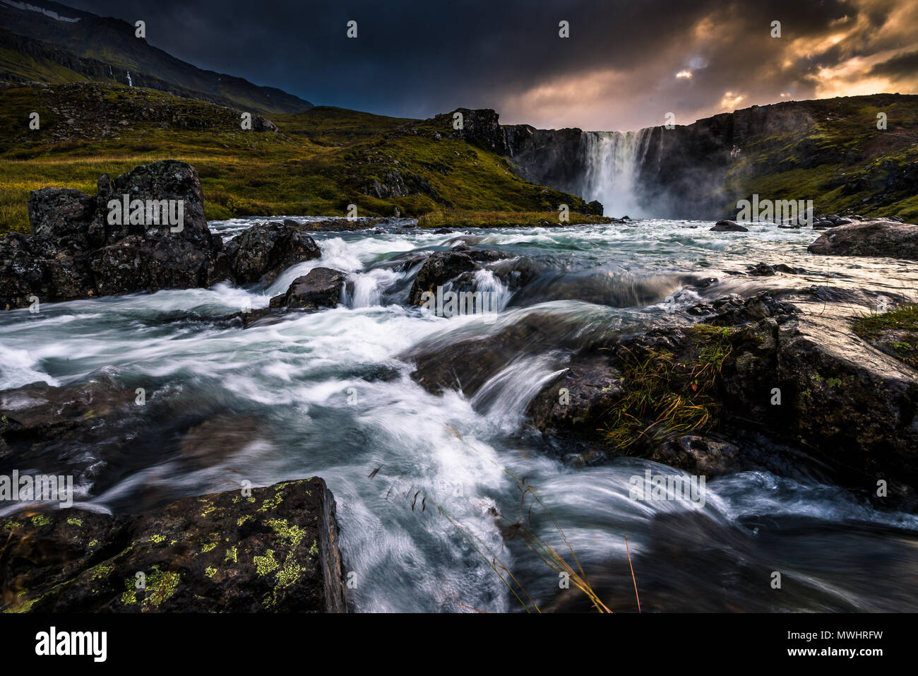 One of the most iconic located smaller and less known waterfalls of Iceland - Stock Image