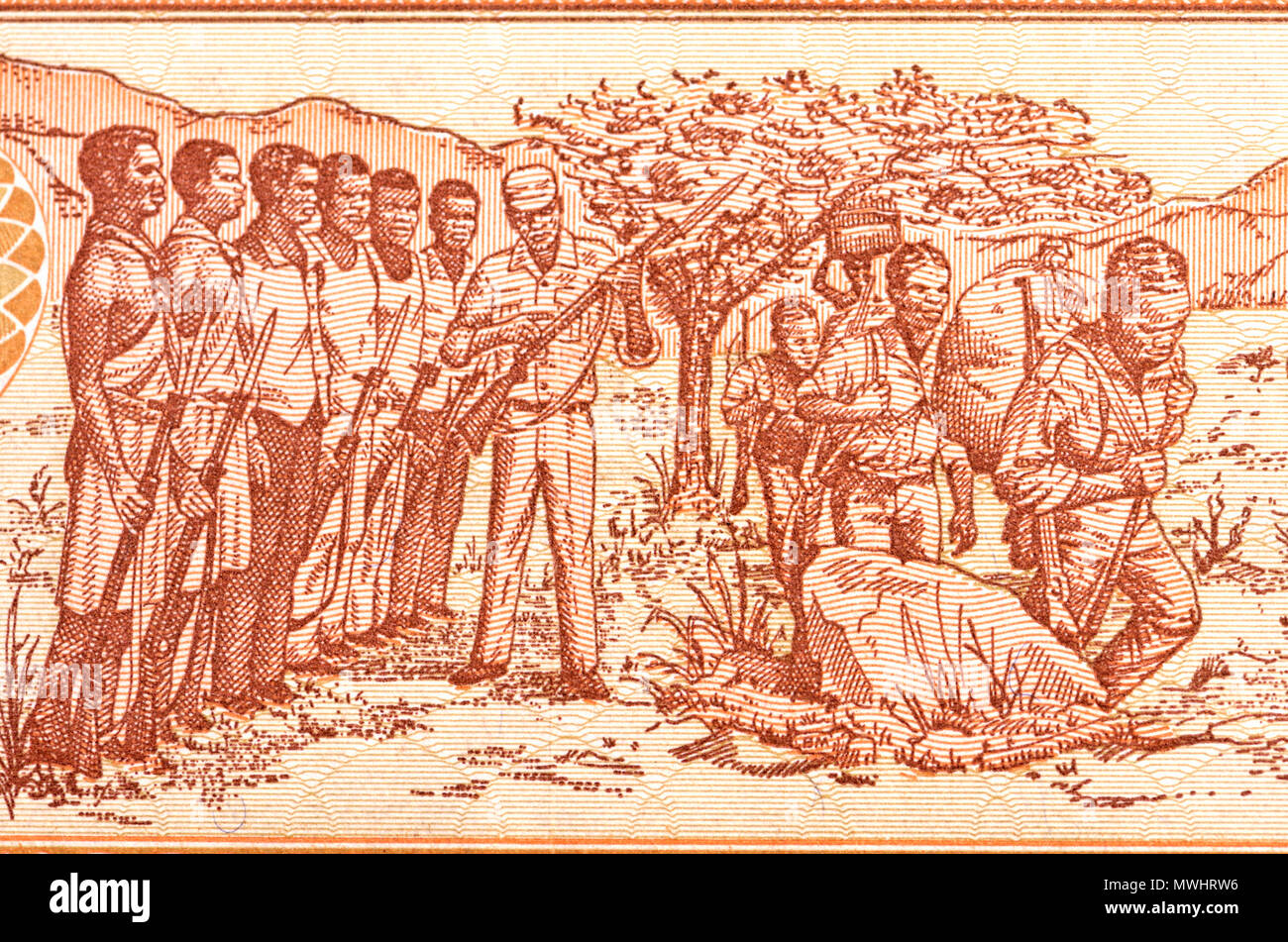 Detail from a Mozambique 50 Meticais banknote showing soldiers in training - Stock Image