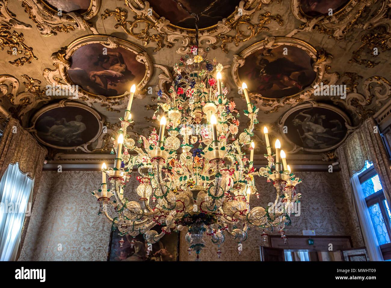 Lampadari Murano Ca Rezzonico.Venice Italy April 22 2018 Murano Chandelier In Of Ca